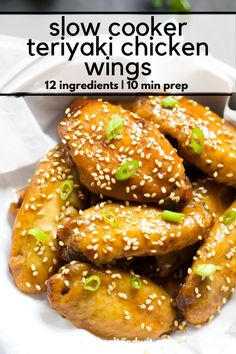 Forget the fryer with these Slow Cooker Garlic Honey Teriyaki Chicken Wings! Filled with Asian flavors of garlic, honey, ginger and soy sauce, these wings are the perfect appetizer or light dinner! Paleo Recipes Easy, Easy Appetizer Recipes, Dinner Recipes, Pasta Recipes, Yummy Recipes, Free Recipes, Slow Cooker Appetizers, Gluten Free Appetizers, Teriyaki Chicken Wings