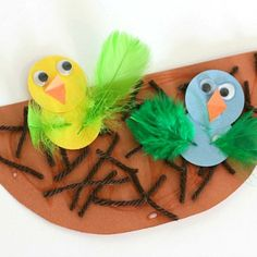 Looking for a Spring Kids Crafts. We have Spring Kids Crafts and the other about Play Kids it free. Bird Paper Craft, Bird Nest Craft, Paper Art, Spring Theme, Spring Art, Spring Crafts For Kids, Summer Crafts, Daycare Crafts, Toddler Crafts