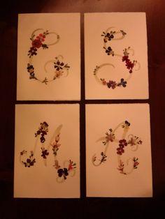 BIGLIETTI INIZIALI con fiori secchi