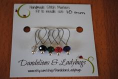 These beautiful stitch markers are made with a high quality jewelry wire and genuine Swarovski crystals. They have a silver lined glass seed