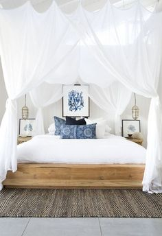 Coastal bedroom with blue accents