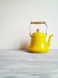 Vintage Yellow Tea Pot with Wood Handle.