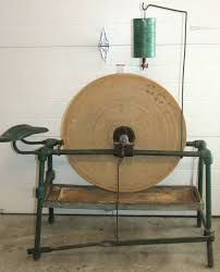 Antique Parry Grinding Wheel / Sharpening Stone with Seat, Green, Tray, Drip Can Sharpening Tools, Sharpening Stone, Woodworking Hand Tools, Wood Tools, Blacksmith Projects, Blacksmithing, Primitive, Tray, Hillbilly