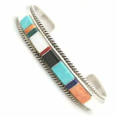 Four Corners USA Online American Artisan Jewelry - Multi Stone Native American Indian Navajo Inlay Sterling Silver Cuff Bracelet Jewelry by Fran Yazzie, $118.00 (http://stores.fourcornersusaonline.com/multi-stone-native-american-indian-navajo-inlay-sterling-silver-cuff-bracelet-jewelry-by-fran-yazzie/)