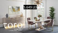 Diningul Gloria este perfect intr-o locuința modernă si poate fi comandat la Showroom-ul #TORO Luxury. Rezervari si comenzi: 0746 661 384   Preturi Gloria Dining -1 masa la pretul de 5,649 RON  - 1 bufet 4,805 RON  - 6 scaune 6168 RON Pret de stoc incluzand: 1 masa + 6 scaune + 1 bufet + 1 oglinda -15,514 RON Dining Table, Luxury, Showroom, Office Desk, Furniture, Modern, Home Decor, Homemade Home Decor, Desk Office