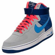 Men's Nike Air Force 1 High 07 Basketball Shoes| FinishLine.com | Wolf Grey/Distance Blue/Royal
