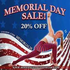 💥Memorial Day Sale💥20% off all with promo code MEMORIAL20 valid thru Monday night May 29th. Have a great weekend! 🌟www.bodyangelactivewear.com🌟 #sandiego #lajolla #activewear #memorialdayweekend #fitnesswear #yogawear #bodyangelgirls #bodyangelactivewear #BodyAngelOriginal #stripes #red #blue #missionhills #lajollalocals #sandiegoconnection #sdlocals - posted by Angela, Maria, Raya  https://www.instagram.com/3fitsassymoms. See more post on La Jolla at http://LaJollaLocals.com