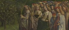 Detail of the virgin martyrs of the Gent Altarpiece by Van Ecyk. Do you see Agnes with her lamb and Barbara with a tower?