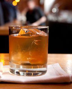 Vieux Ananas: rye whiskey, Plantation Pineapple Rum, sweet vermouth, Benedictine, Angostura bitters, orange twist
