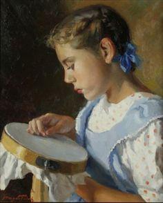 La nena del bastidor. huile sur toile de Magda Folch Solé (espagnole)