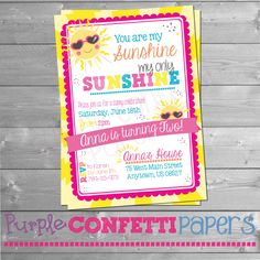 You are my Sunshine Birthday Invitation, Sunshine, Sunny, Sun, First Birthday, Baby Birthday, Sunny Day, Garden Party, by PurpleConfettiPapers on Etsy https://www.etsy.com/listing/272712234/you-are-my-sunshine-birthday-invitation