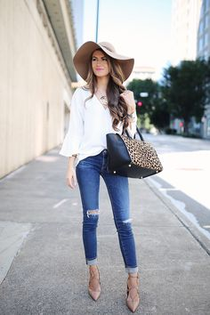 bell sleeve V-neck blouse (comes in 4 colors) // AG ripped knee jeans…