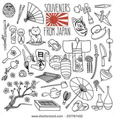 "Traditional souvenirs from Japan. Japanese hieroglyphs on the scroll means ""Japan"". Vector freehand illustration isolated on white background. Japan Illustration, Japan Kawaii, Line Art, Japanese Drawings, Japan Tattoo, Japan Art, Osaka Japan, Bullet Journal Inspiration, Japanese Culture"