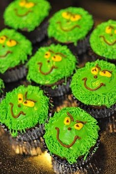 The Grinch Day-Grinch Cupcakes -- These could be made into cookies for the party