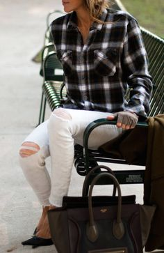 Flannel + white skinny jeans.