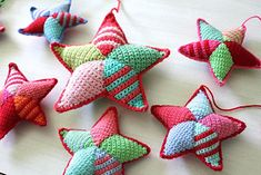 Adorable multi-color stars. Use scraps of worsted weight. Adjust hook size to the size of star, from small to large.