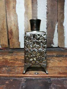 Vintage Hollywood Regency Art Deco Ornate Style Metal Ormolu Filigree Cased Glass Perfume Cologne Refillable Bottle