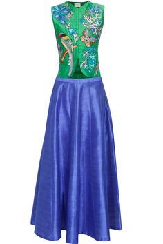 Green bird embroidered short jacket with blue skirt lehenga available only at Pernia's Pop Up Shop.