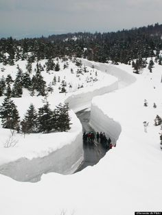 I've seen this photo used in several memes and had assumed it was photo-shopped but it turns out it is real. This is the road that leads to Aomori in Japan. Whoa.