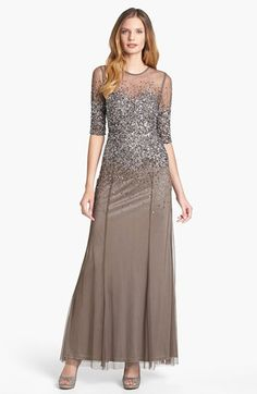 Adrianna+Papell+Beaded+Illusion+Bodice+Mesh+Gown+available+at+#Nordstrom