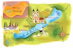 Ann Boyajian - Map of Lake Balaton, Hungary Central Europe, Scrapbooking Ideas, Ancestry, Hungary, Budapest, Baths, Infographics, Roots, Tourism