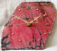 Rhodonite slice clock from Tamworth NSW.