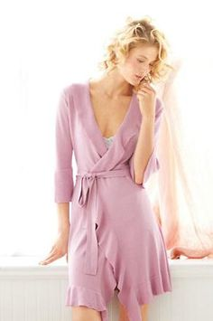 The Ruffled Wrap Robe by Garnet Hill is perfect for keeping cozy and covering up PJs for those midnight runs to the bathroom!