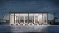 Klenovyi Bulvar Station Concept by IND Architects in Facade Architecture, Concept Architecture, Landscape Architecture, Facade Lighting, Glass Facades, Facade Design, Building Exterior, Modern Buildings, Behance