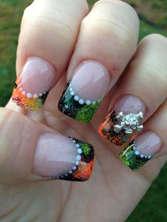 Acrylics nails...perfect design for fall