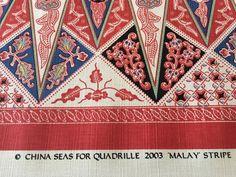 China Seas Quadrille Linen Upholstery Fabric Malay Stripe Watermelon 2.25 yd | eBay