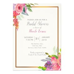 Spring Floral Wedding Bridal Shower Invitation - invitations custom unique diy personalize occasions