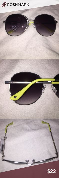 Juicy Couture aviator sunglasses NWT Awesome Juicy Couture aviator sunglasses with 100% UV protection and yellow on the ear pieces. ❤️! So cute!! New with tags. No case. 100% authentic as are all of my items. Juicy Couture Accessories Sunglasses