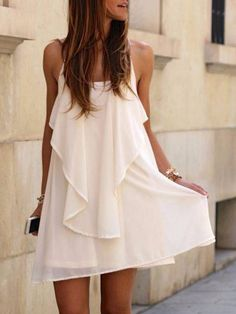 White Chain Spaghetti Strap Ruffled Dress from Midnight Bandit. Shop more products from Midnight Bandit on Wanelo.