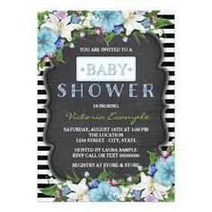 Black Stripe Boys Chalk Baby Shower