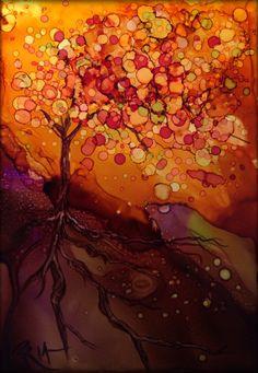 Autumn Sky Alcohol Ink on Yupo