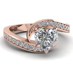 Heart Shaped Diamond Engagement Rings With White Diamond In 18K Rose Gold | Classic Swirl Ring | Fascinating Diamonds