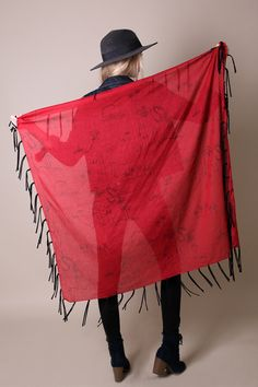 Monkey Loves Camel Fringe Red Scarf with Long Black Tassels. Hand-printed. Evening Shawl. Western Scarf. Unique Gift Ideas For Her. Holiday Scarf