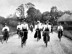 Victorian Women Cyclists Descending a Hill, c. 1898.