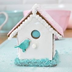 Recipe and photo tutorial on making a Mini gluten free gingerbread bird house