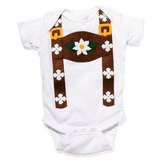 How cute! This baby lederhosen onesie lets your little guy or gal join in on the Oktoberfest fun!