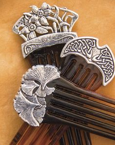 Hair accessories, combs, individually handmade in the U.S.A. at Oberon Design. Narcissus hair comb.