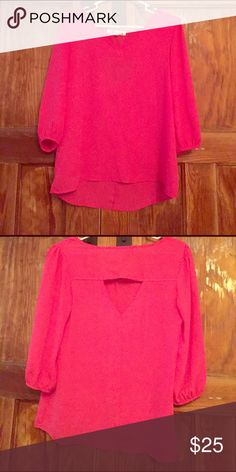 🏅HP🏅Hot pink blouse with triangle cutout in back Light, flowy pink blouse with cute triangle cutout in back. Host Pick Best in Tops 7/17 Annabella (purchased at Francesca's) Tops Blouses