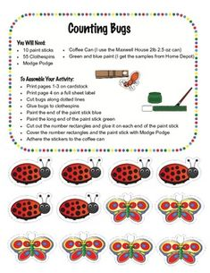 In the Counting Bugs! activity students clip the correct number of bugs on paint sticks.  Directions for assembling this activity can be found on m...