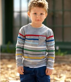 This gives me ideas for a sweater for my son ... love the stripes and the little chest pocket.