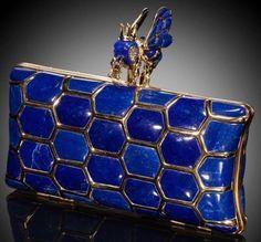 Im Blue, Love Blue, Vintage Purses, Vintage Handbags, Yves Klein, Lapis Lazuli Jewelry, Bleu Royal, Gold Clutch, Blue Wedding Dresses