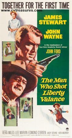 """Man Who Shot Liberty Valance"" Original Vintage Three Sheet Movie Poster on LINEN, John Wayne movie posters & memorabilia. See John Wayne Collection: www.cvtreasures.com  $1650"