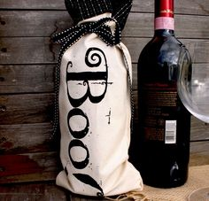 Halloween Boo Wine Bottle Bag by BloomAndBarnacle on Etsy, $10.00