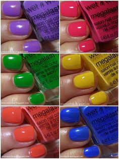 Swatches: Wet n Wild Summer 2014 Limited Edition All Access Beauty Megalast Nail Color Collection