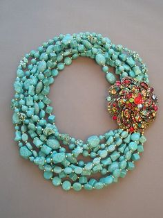 turquoise with crystals....