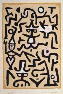 Octavilla Comedians' Paul Klee (German (Swiss-born), Münchenbuchsee Muralto-Locarno) Date: 1938 Medium: Gouache on newsprint Dimensions: H. , 6 x / 8 cm.) Classification: Drawings Credit Line: The Berggruen Klee Collection, 1984 Art Dégénéré, Modern Art, Contemporary Art, Gold Poster, Print Poster, Paul Klee Art, Art Africain, Wassily Kandinsky, Metropolitan Museum